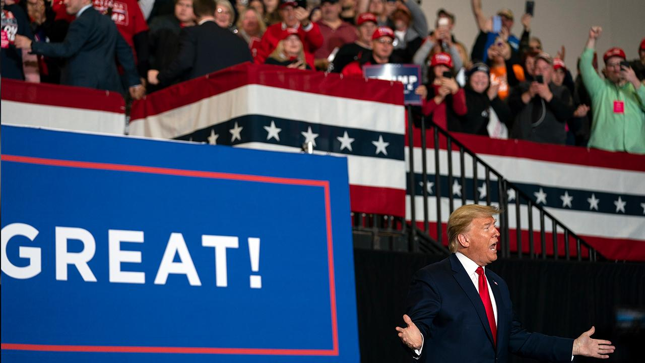 President Trump discusses health care for Americans while speaking to supporters at a 'Keep America Great' rally in Wildwood, New Jersey.