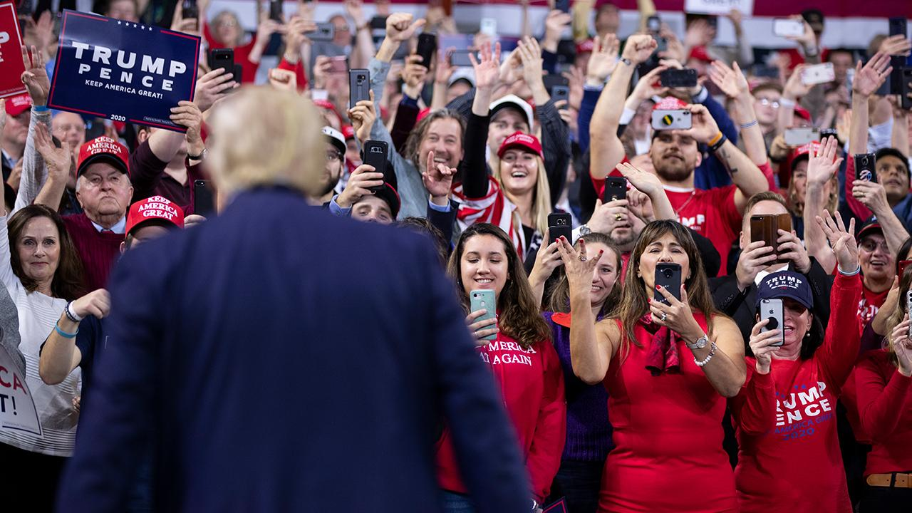 President Trump touts job numbers and his administrations' trade deals while speaking to supporters at a 'Keep America Great' rally in Milwaukee, Wisconsin.