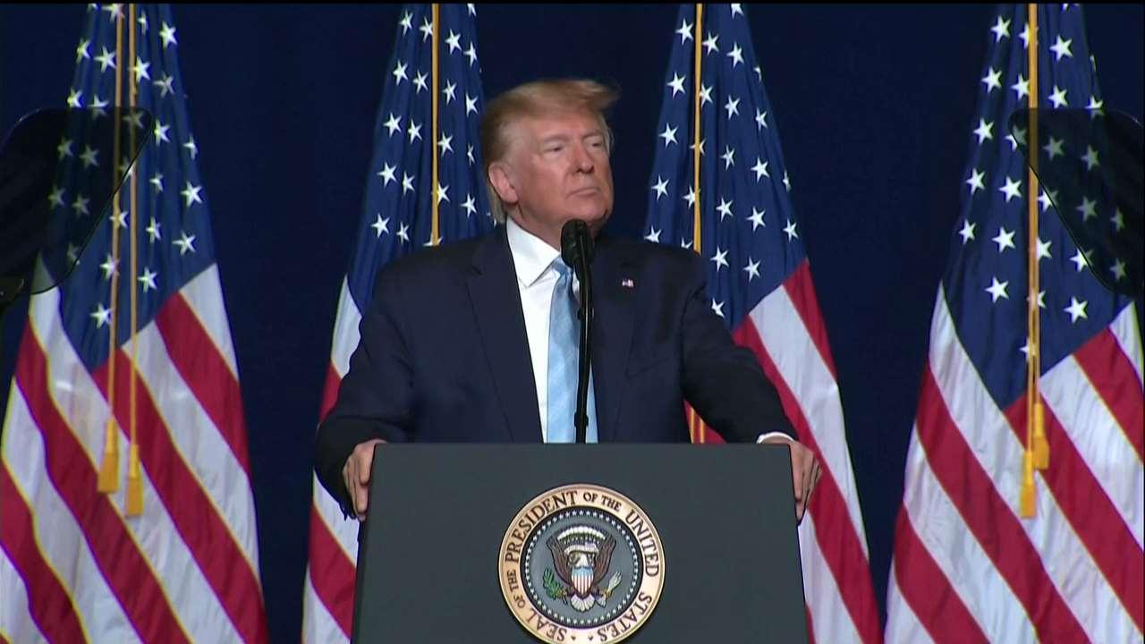 President Trump speaks about religious institutions' tax-exempt status and ending the Johnson Amendment at an 'Evangelicals for Trump' event in Miami, Florida. The Johnson Amendment is a provision in the U.S. tax code that prohibits all nonprofit organizations from endorsing or opposing political candidates.
