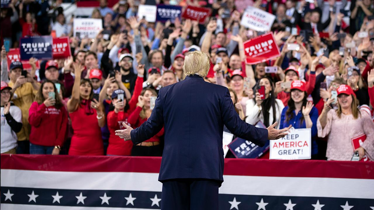 President Trump discusses local and U.S. employment rates while speaking to supporters at a 'Keep America Great' rally in Wildwood, New Jersey.