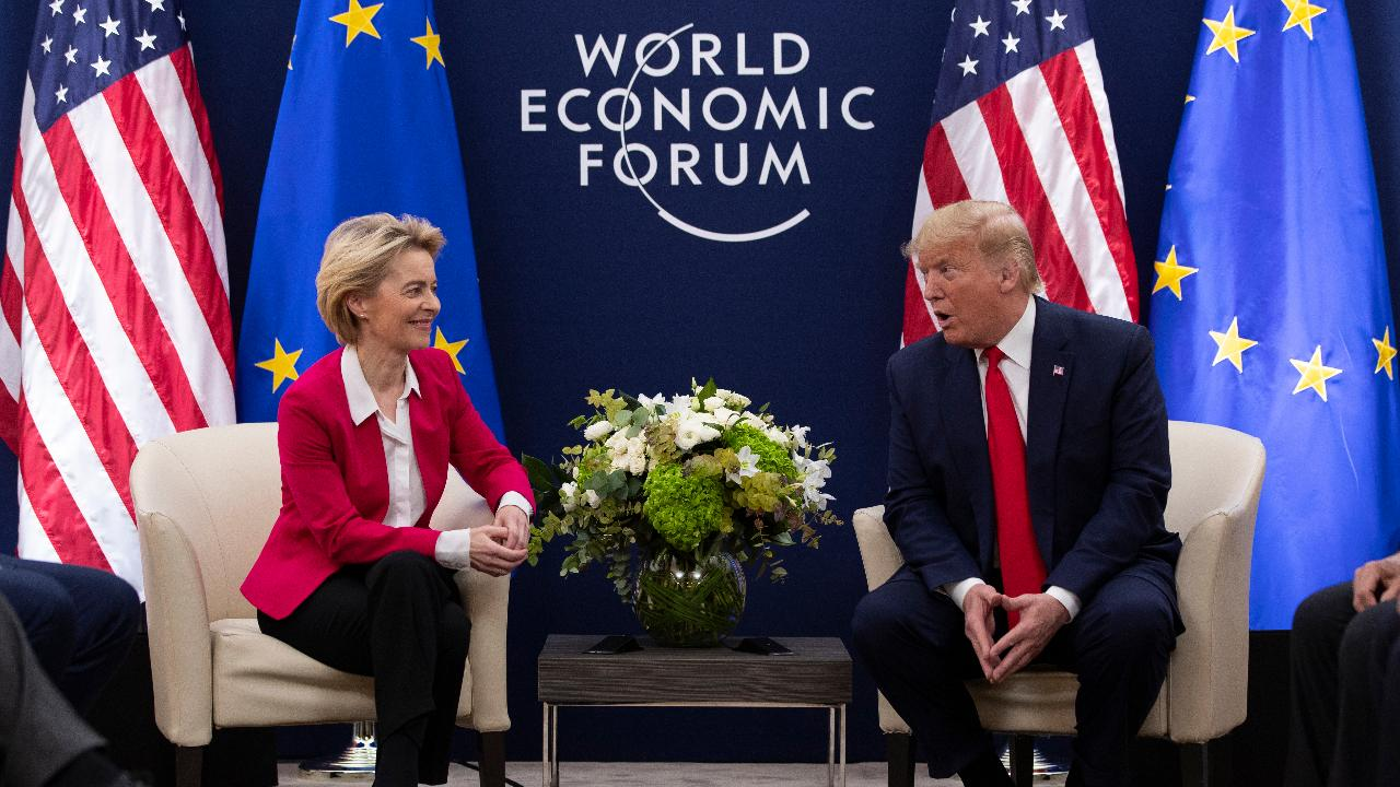 President Trump discusses America's booming economy in the midst of impeachment during a bilateral meeting with the President of the European Commission at the World Economic Forum in Davos.