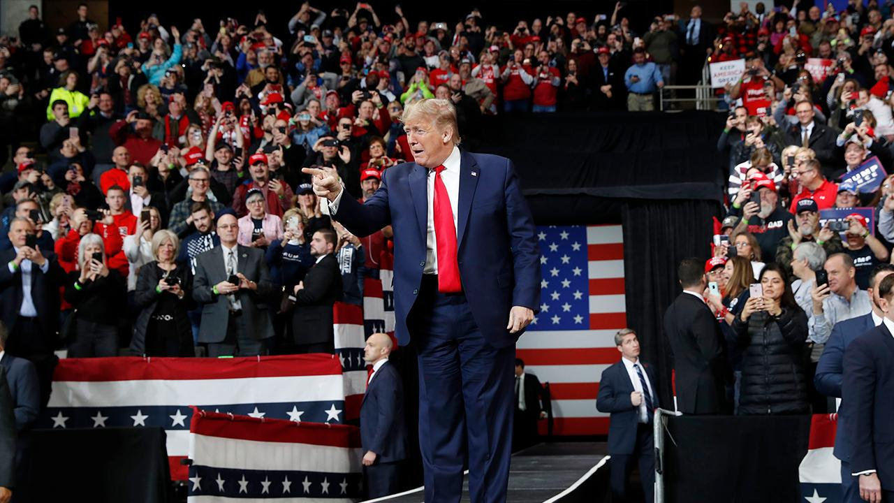 President Trump talks about stocks, jobs and 401(k)s while speaking to supporters at a 'Keep America Great' rally in Toledo, Ohio.