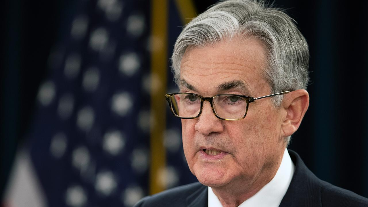 Federal Reserve Chairman Jerome Powell speaks about U.S. economic growth during a press conference and says the Fed will leave rates unchanged.