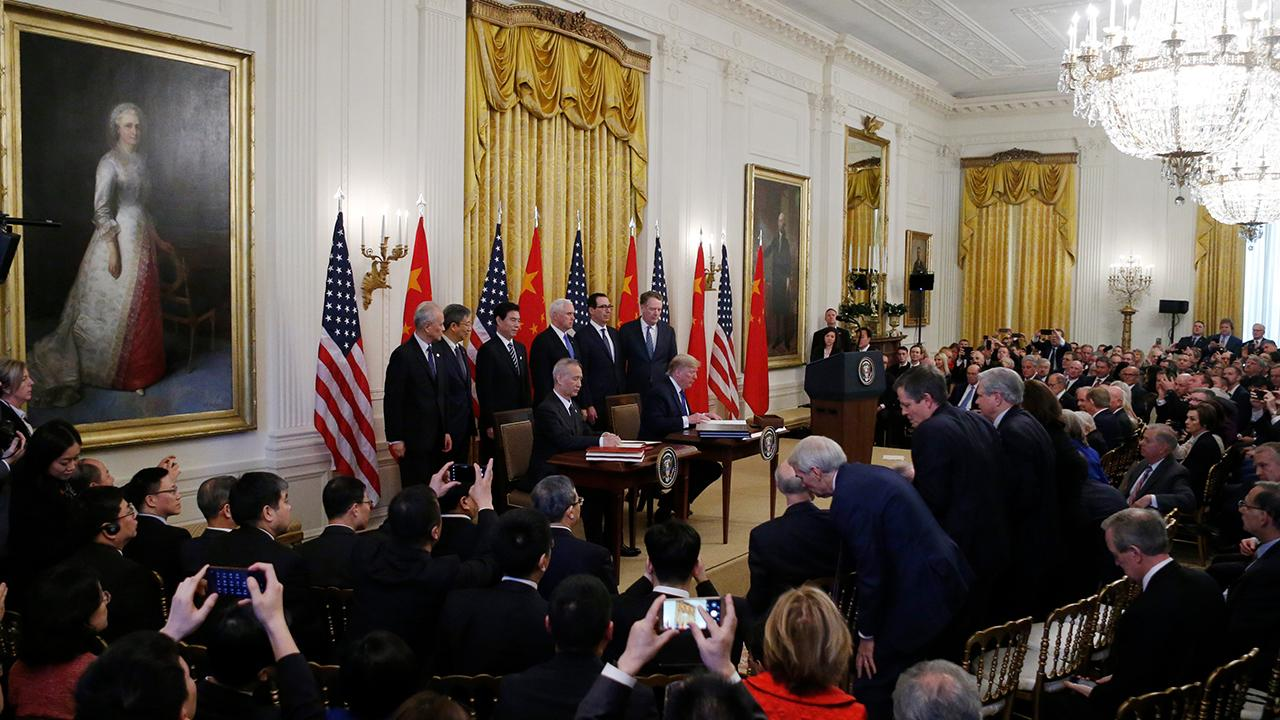 President Trump thanks business leaders and CEOs of major companies, such as UPS, Boeing and Mastercard at the White House for the signing of the U.S.-China trade deal.