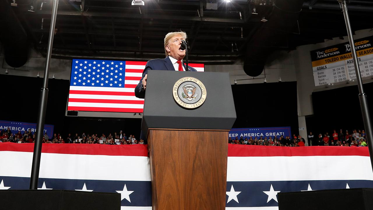 President Trump discusses the Space Force and increasing military funding while speaking to supporters at a 'Keep America Great' rally in Toledo, Ohio.
