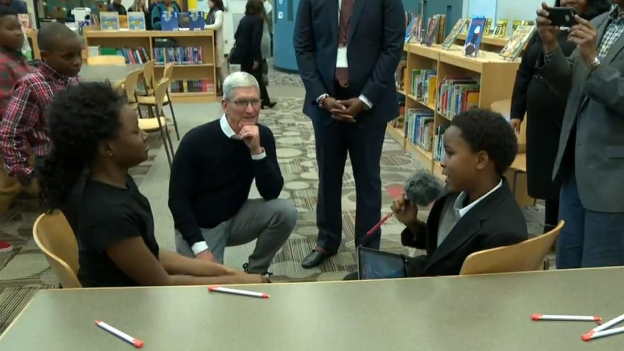 Apple CEO Tim Cook discusses how coding and creativity should be included in childhood education and shares his efforts on the Ed Farm program.