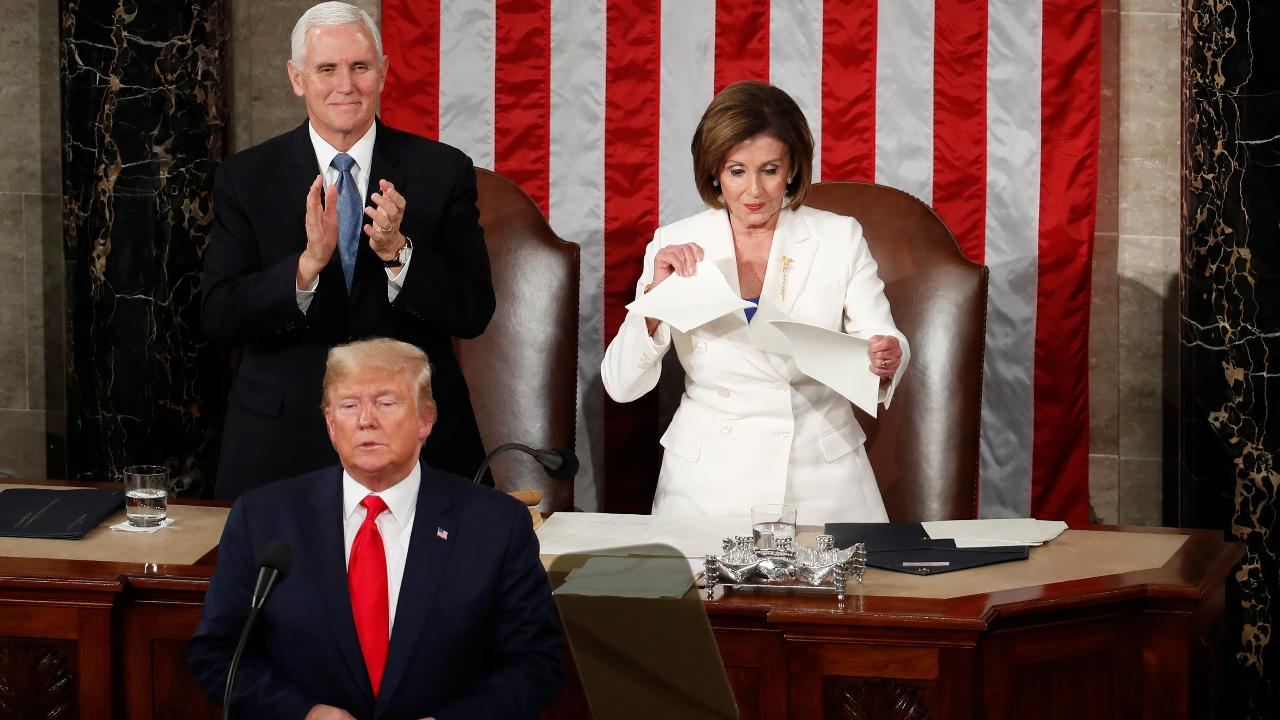 Democratic Speaker of the House Nancy Pelosi abruptly rips President Trump's State of the Union address after he makes his closing remarks.