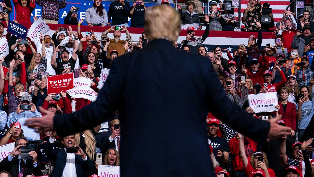 President Trump talks to the crowd about unemployment rates, home ownership, welfare and Opportunity Zones while speaking at a 'Keep America Great' rally in Colorado Springs, Colorado.