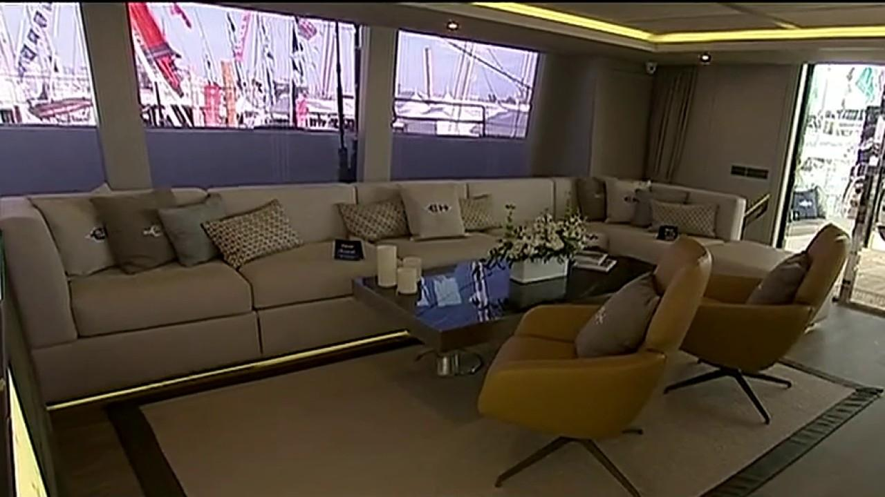 FOX Business' Cheryl Casone tours a luxury catamaran at the International Boat Show in Miami.