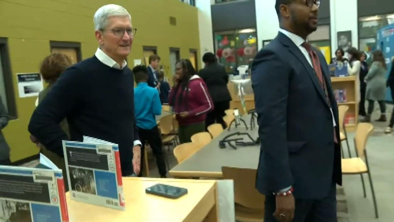 Apple CEO Tim Cook walks around a classroom in Alabama after his company announced a partnership with the Ed Farm program.