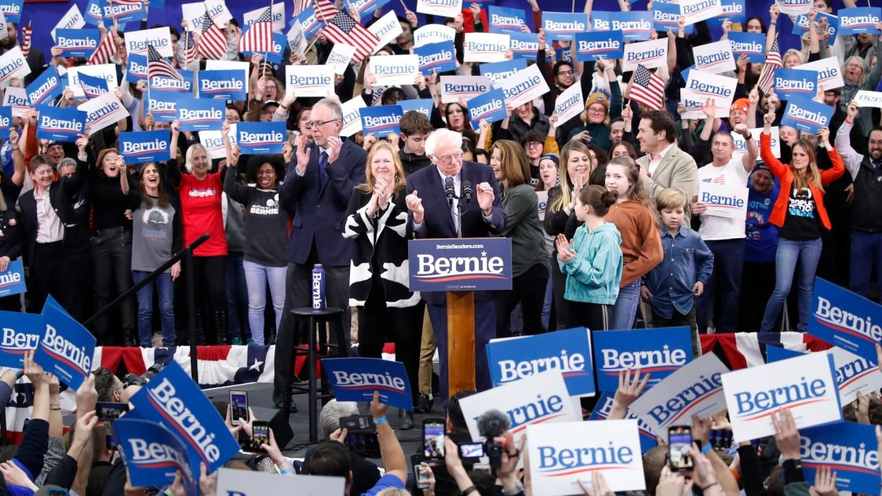 Sen. Bernie Sanders, I-Vt., thanks his supporters for 'a great victory tonight.'