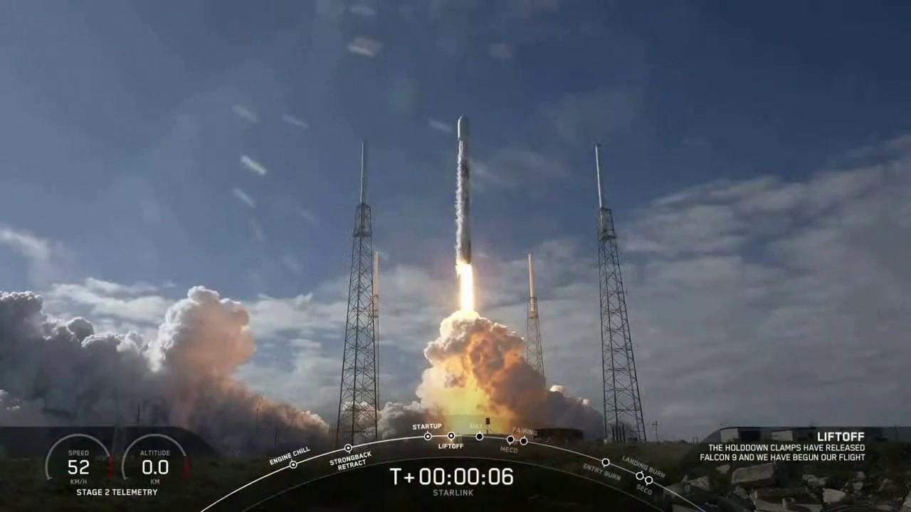 A SpaceX Falcon 9 rocket launched 60 new Starlink internet satellites on Monday.