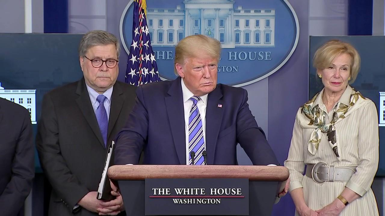 President Trump says a stimulus relief package will help small and large businesses recover from the economic hit they've taken from coronavirus.
