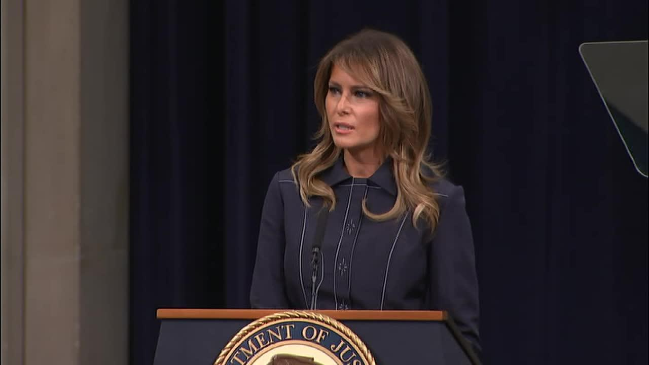 First Lady Melania Trump addresses attendees of the DOJ National Opioid Summit and shares about progression regarding the epidemic in the U.S.