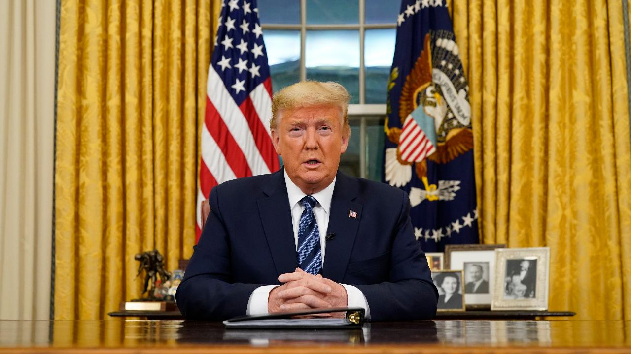 President Trump speaks from the Oval Office on how the U.S. is addressing coronavirus, including travel restrictions from Europe, except for the U.K., providing financial relief for workers and waiving health-care fees for coronavirus treatment.