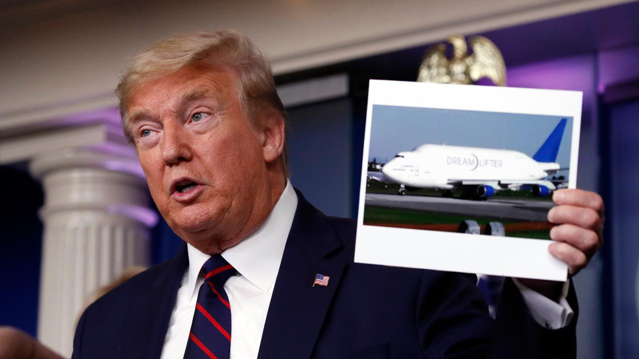 President Trump says Boeing has offered to make face shields and lend a few planes for medical supplies.