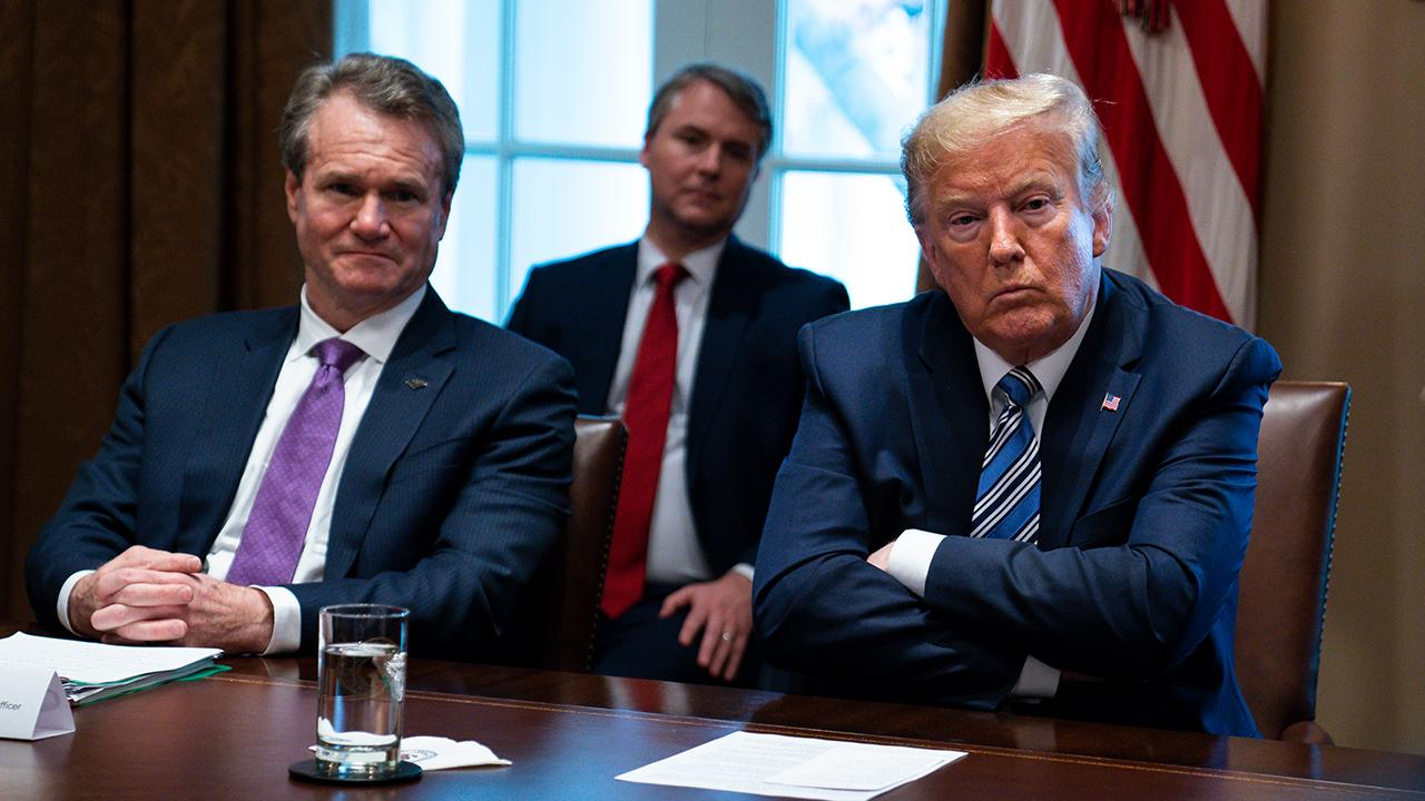 President Trump and bank executives discuss economic stimulus to combat coronavirus and the airline, cruise and hotel industries while meeting at the White House.