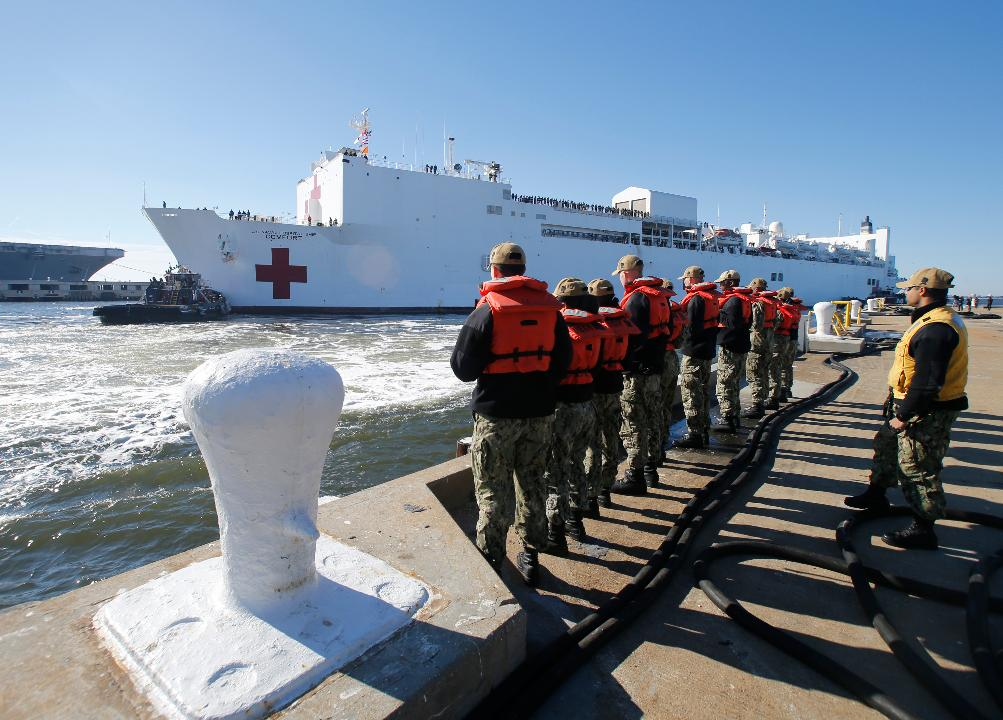 New York Gov. Andrew Cuomo announces President Trump will be sending hospital ships to the U.S.