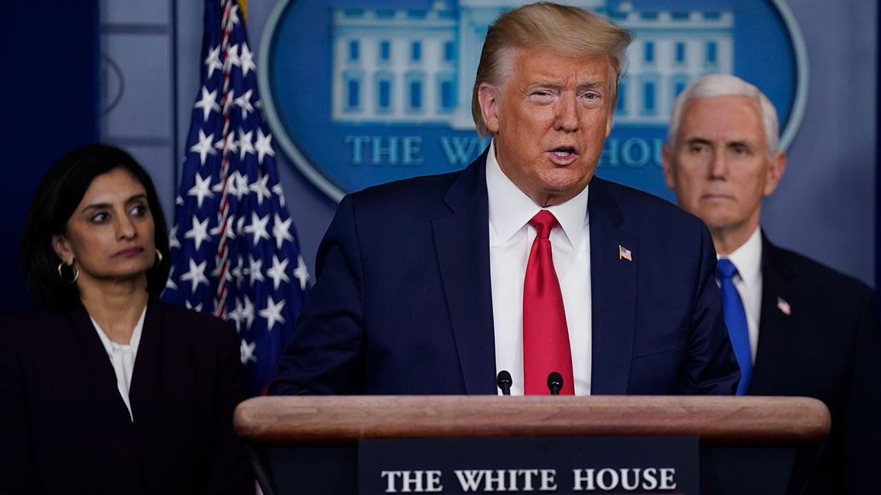 President Trump discusses China tariffs while speaking about the coronavirus at a White House press briefing.