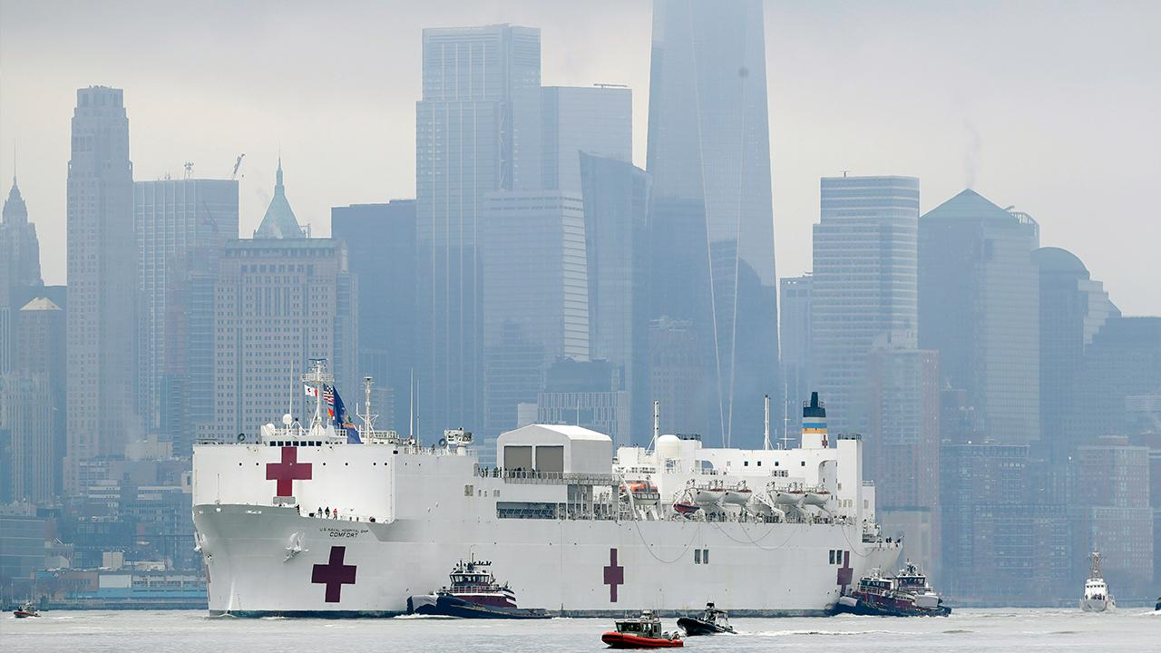 The Navy hospital ship USNS Comfort has docked in New York City, which will treat overflow patients as hospitals are overwhelmed by coronavirus.