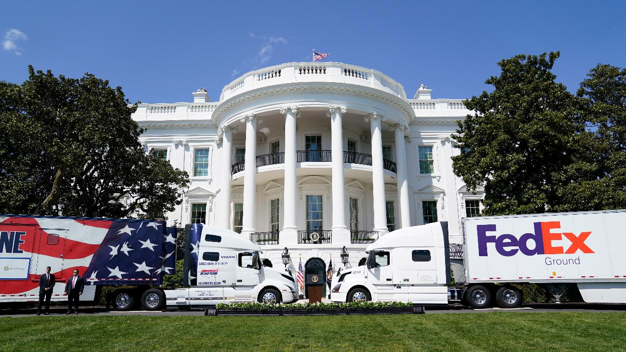 President Trump refers to American truckers as 'the foot soldiers' carrying everyone to victory amid the coronavirus pandemic.