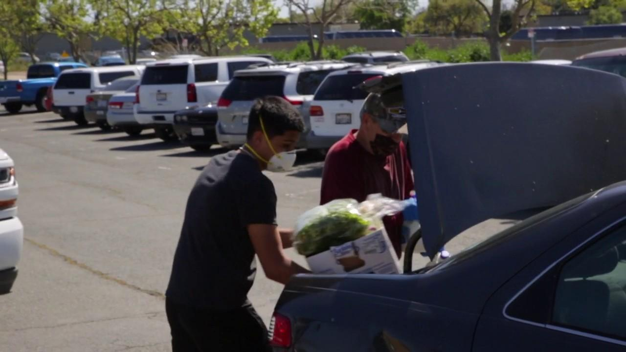 White Pony Express got the food from supermarkets and food distributors and were able to give the provisions to nearly 1,000 cars over the course of two days in Antioch, California.