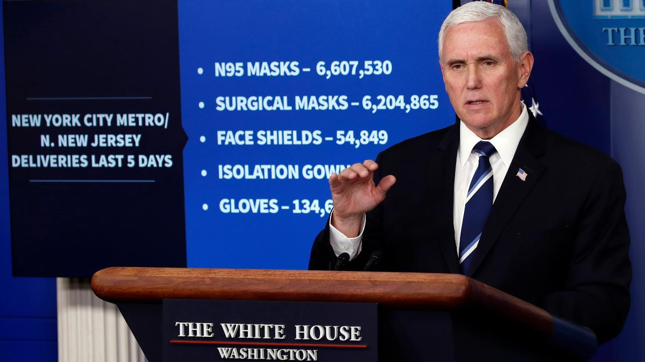 Vice President Mike Pence thanks Americans for following guidelines and says he continues to see evidence of stabilization in U.S. coronavirus hot spots.