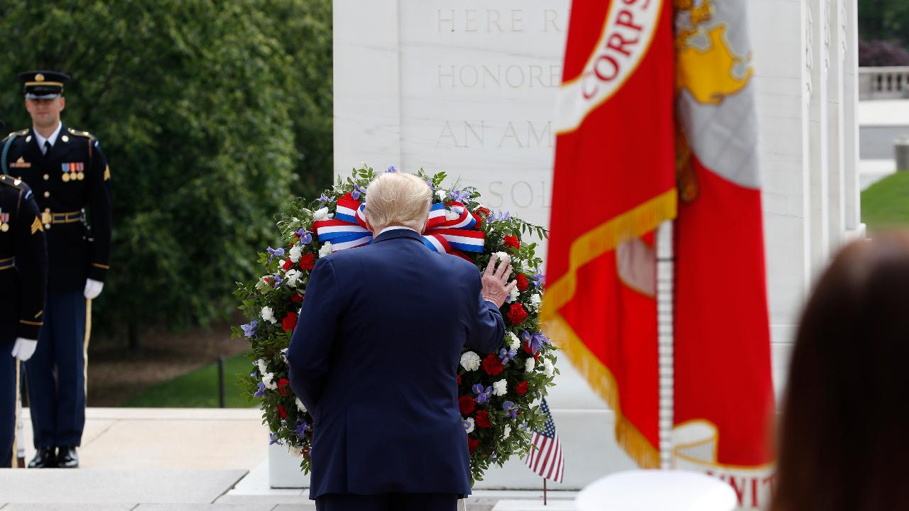 President Trump honors fallen soldiers at the Tomb of the Unknown Soldier at Arlington National Cemetery on Memorial Day.