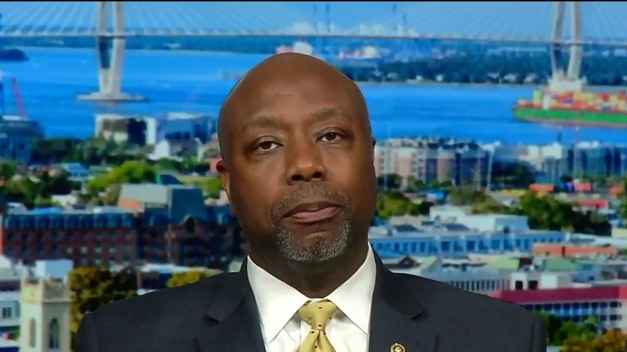 Sen. Tim Scott, R-S.C., stresses the importance of responsibly reopening the economy while also practicing social distancing so people can work and pay their bills.