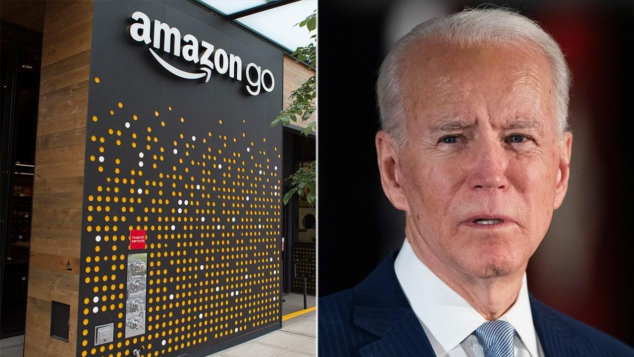 Amazon fired back at Joe Biden on Twitter after he accused the tech giant of not paying enough taxes. FOX Business' Edward Lawrence with more.