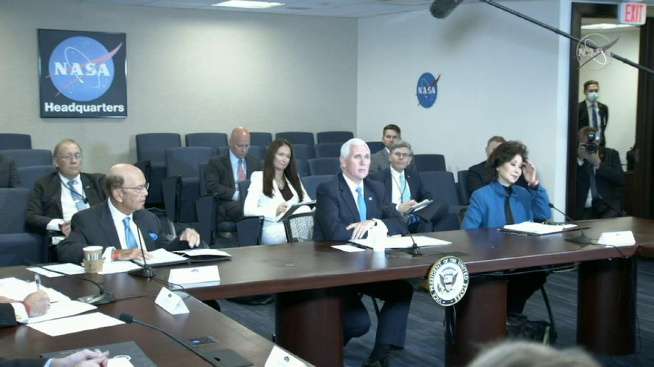 Vice President Mike Pence delivers remarks at the seventh meeting of the National Space Council at NASA headquarters and discusses the launch of Space Force.
