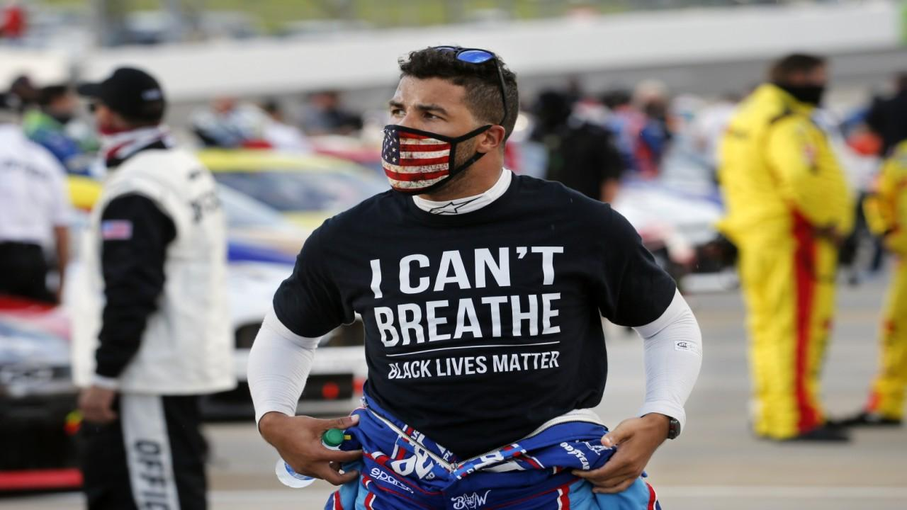 NASCAR driver Bubba Wallace discusses taking a stand against racial injustices in the sport and banning the flight of Confederate flags at events.