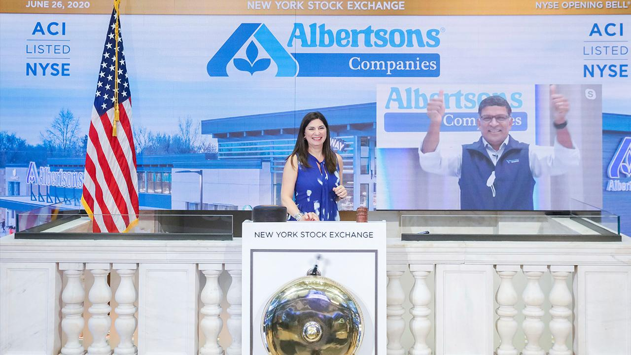 Albertsons Companies CEO and President Vivek Sankaran discusses his company going public, dealing with coronavirus-hit supply chains and competing with Kroger and Amazon.