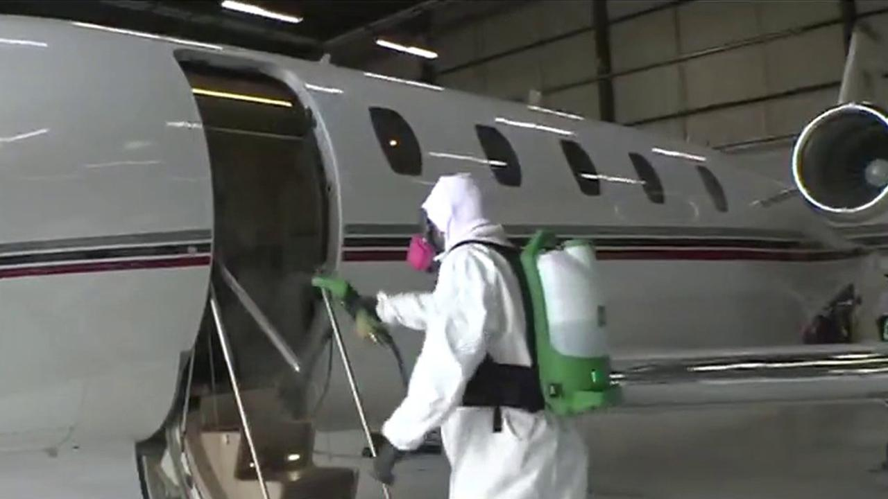 FOX Business' Kristina Partsinevelos discusses increased private jet travel amid the coronavirus and how Jet Linx, a private jet company, is cleaning its planes.