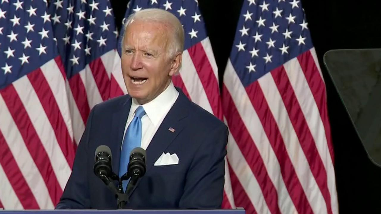 Presumptive Democratic presidential nominee Joe Biden attacks President Trump's economic record during first joint appearance with running mate Kamala Harris.