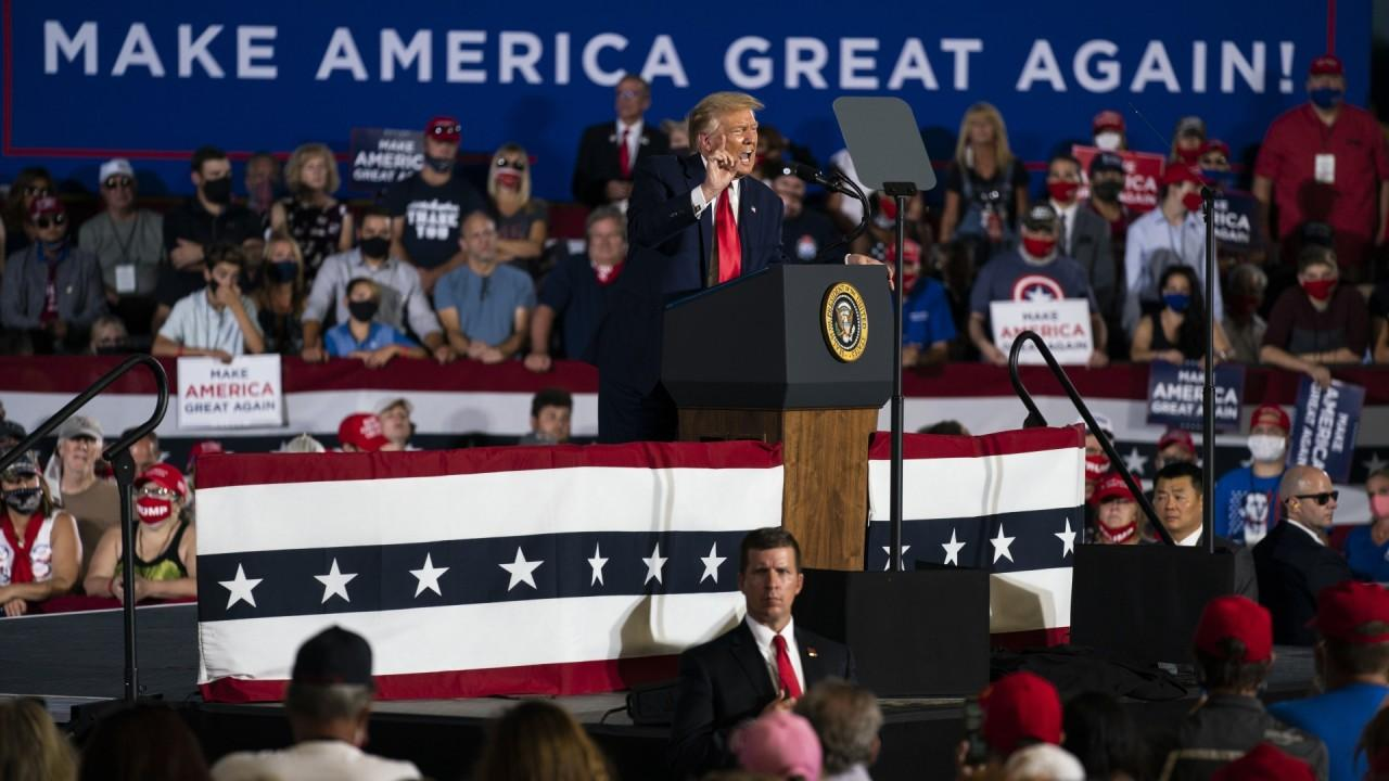 President Trump while speaking at a campaign event at Manchester-Boston regional airport praises the economic recovery after coronavirus, including the record-breaking stock market, the Paycheck Protection Program, and his economic plans for his second term.