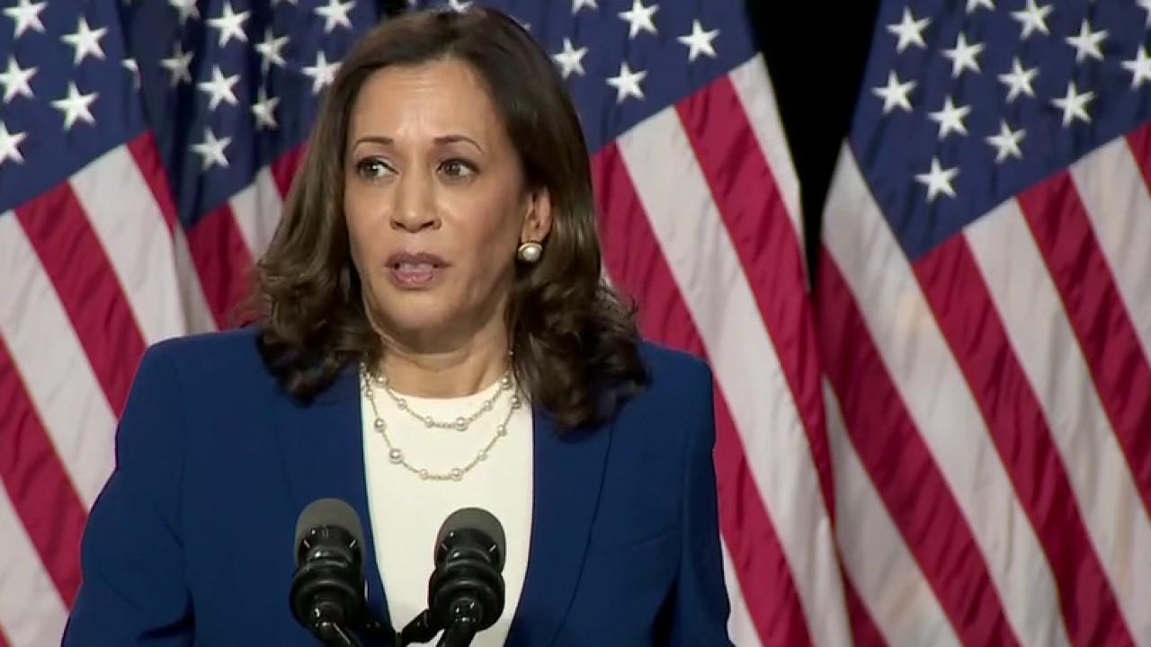 Presumptive Democratic vice presidential nominee Kamala Harris pledges to work with Joe Biden to create millions of jobs.