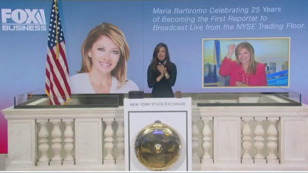 FOX Business' Maria Bartiromo celebrates her 25th anniversary of reporting from the floor of the New York Stock Exchange by ringing the opening bell.