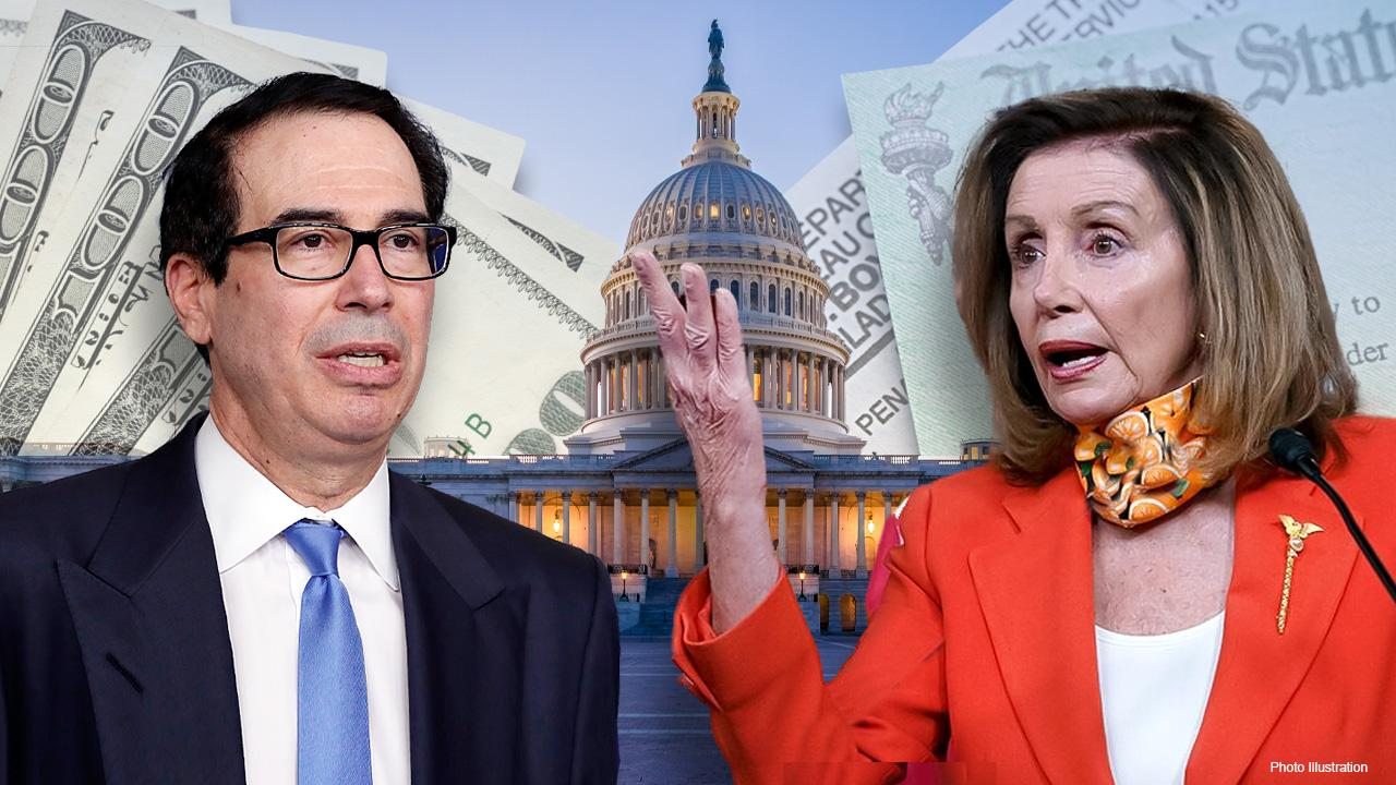 Treasury Secretary Steven Mnuchin and Speaker of the House Nancy Pelosi will meet face-to-face to discuss the stimulus package. FOX Business' Edward Lawrence with more.