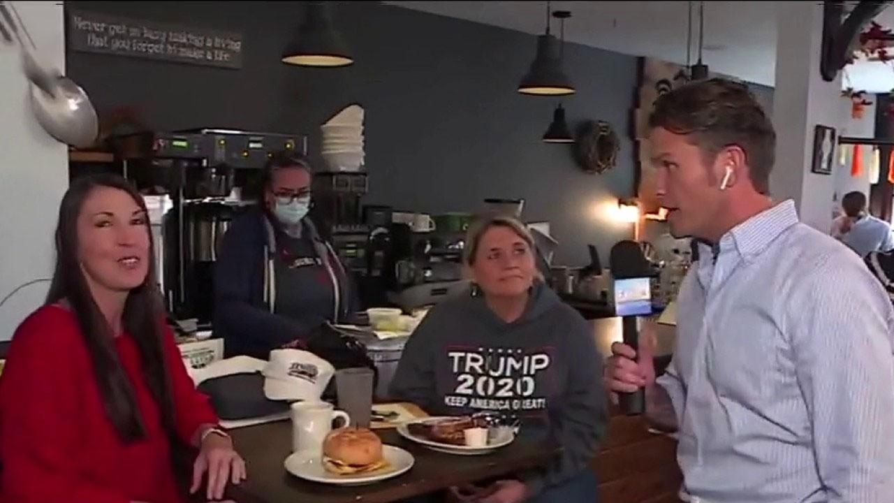 Pete Hegseth, Will Cain talk to voters at the Toast City Diner in Asbury Park, N.J.